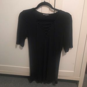 Express Tops - Express Black Lace-up Front Ribbed Top